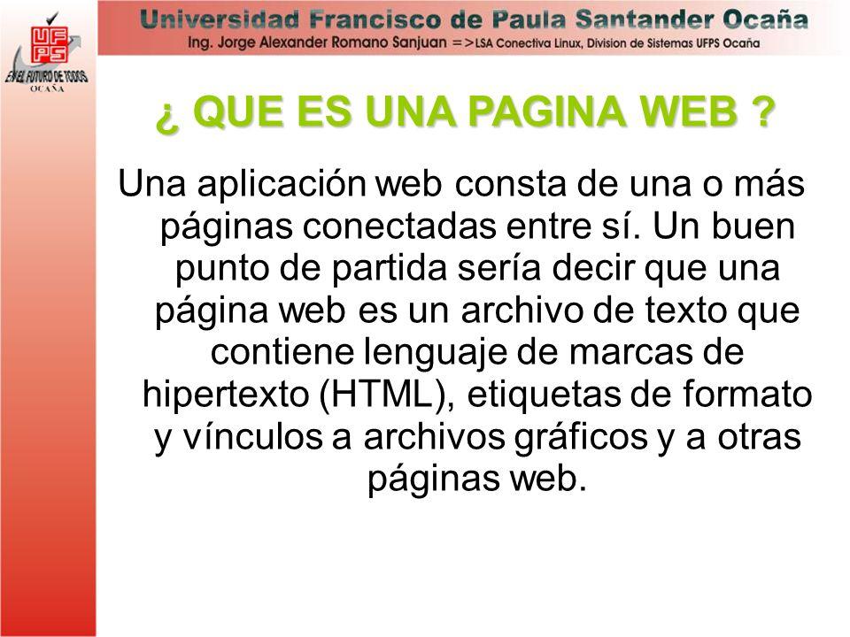 ¿ QUE ES UNA PAGINA WEB