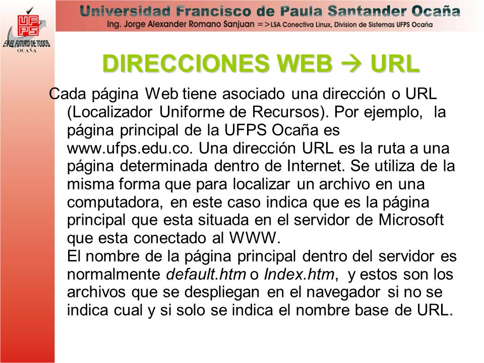 DIRECCIONES WEB  URL
