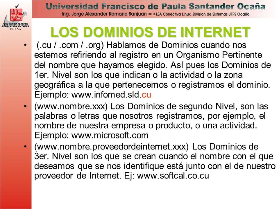 LOS DOMINIOS DE INTERNET