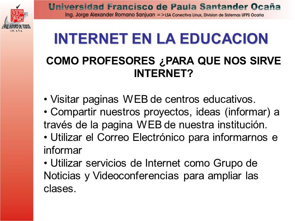 INTERNET EN LA EDUCACION COMO PROFESORES ¿PARA QUE NOS SIRVE INTERNET