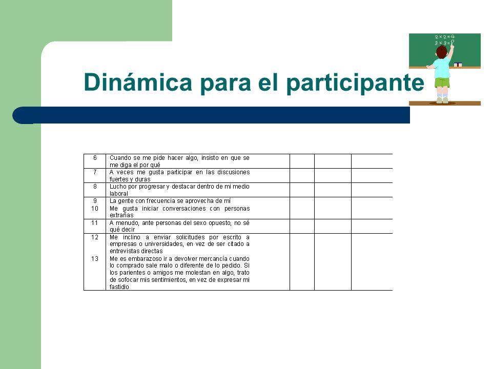 Dinámica para el participante