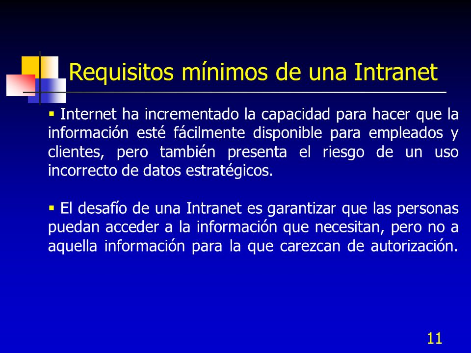 Requisitos mínimos de una Intranet