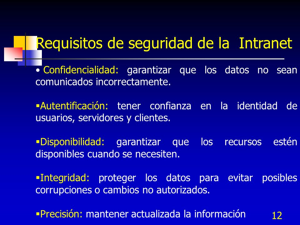 Requisitos de seguridad de la Intranet