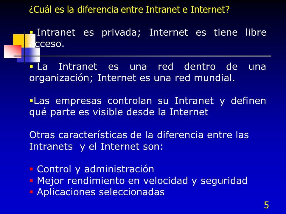 ¿Cuál es la diferencia entre Intranet e Internet