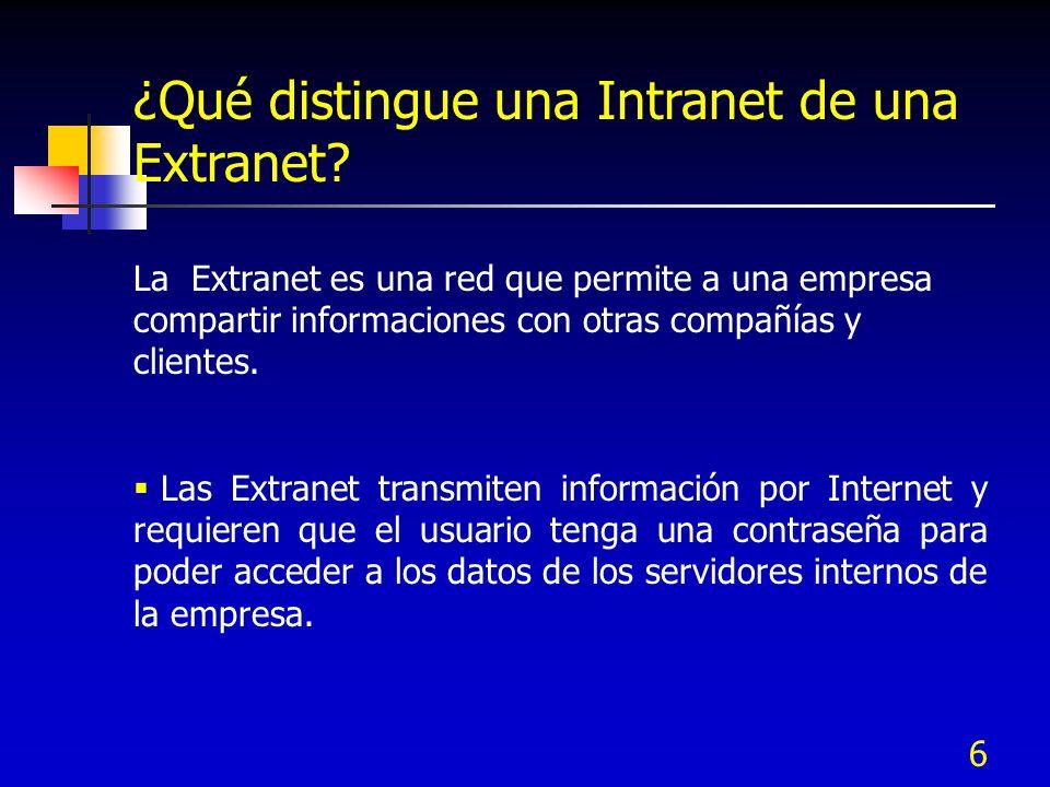 ¿Qué distingue una Intranet de una Extranet