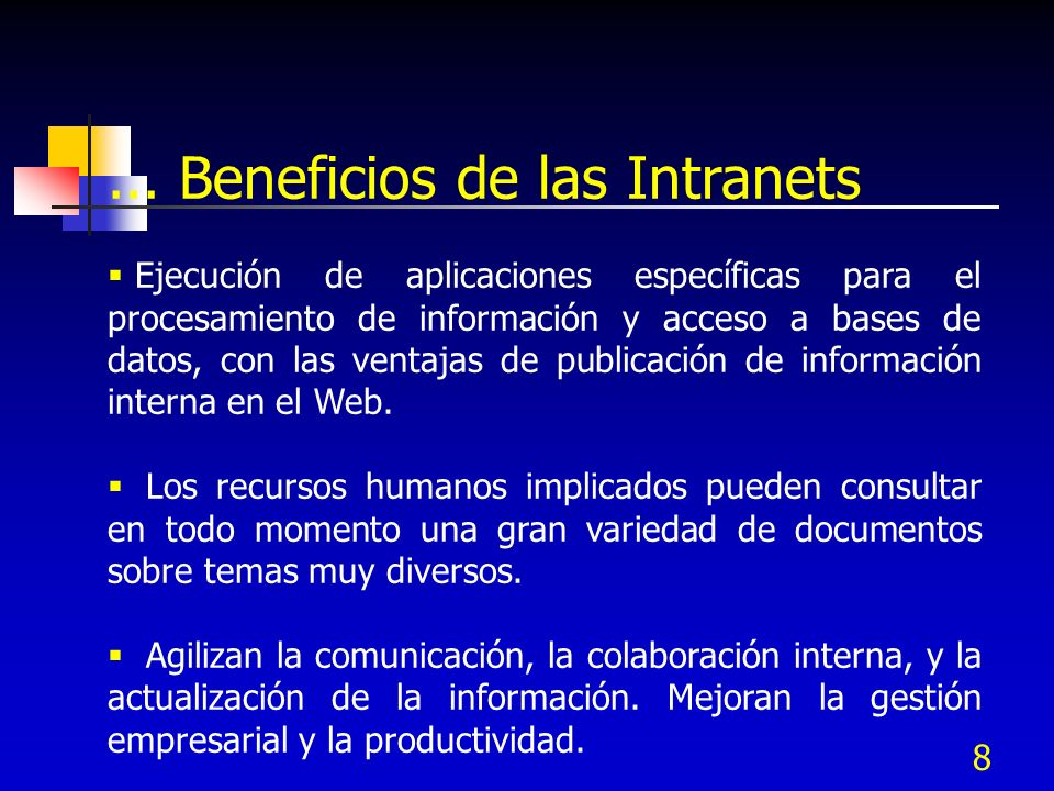 ... Beneficios de las Intranets