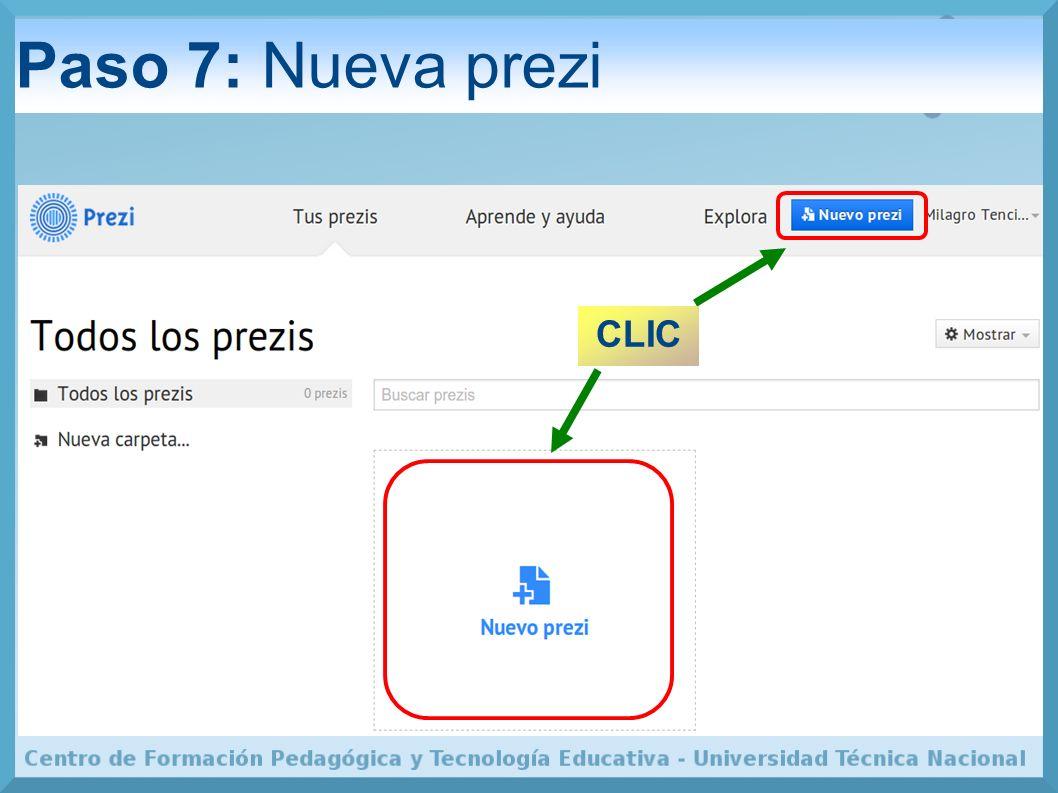 Paso 7: Nueva prezi CLIC