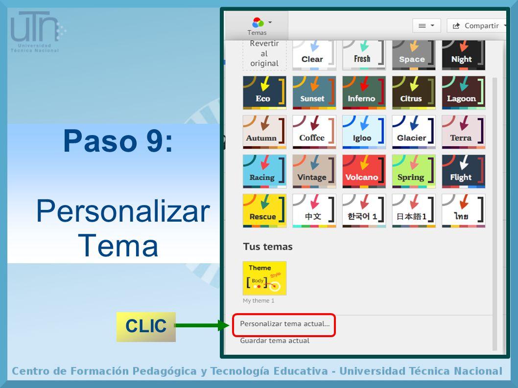 Paso 9: Personalizar Tema