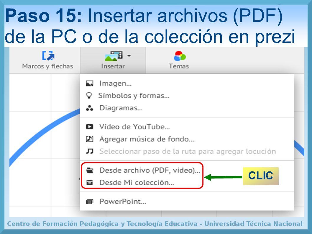 Paso 15: Insertar archivos (PDF) de la PC o de la colección en prezi