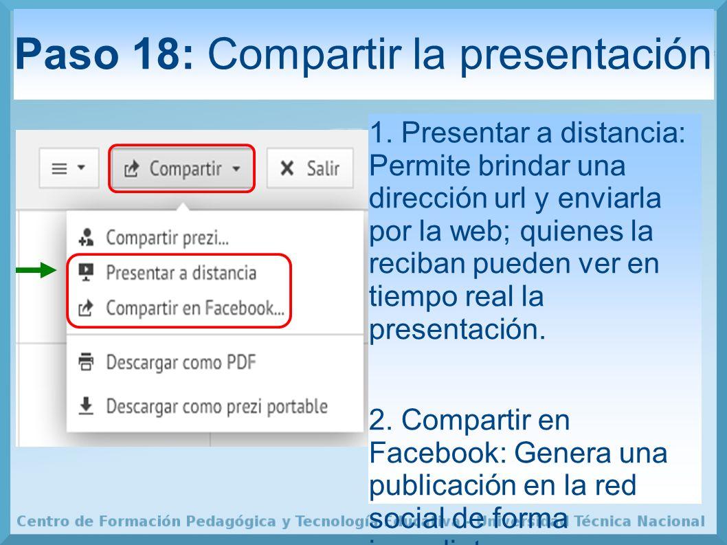 Paso 18: Compartir la presentación