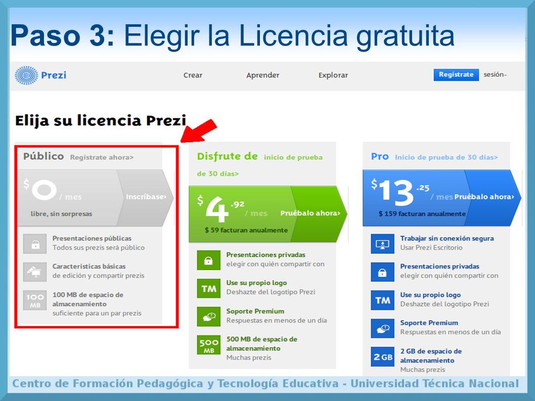 Paso 3: Elegir la Licencia gratuita