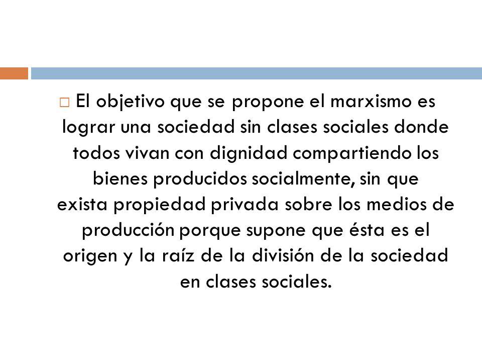 El objetivo que se propone el marxismo es lograr una sociedad sin clases sociales donde todos vivan con dignidad compartiendo los bienes producidos socialmente, sin que exista propiedad privada sobre los medios de producción porque supone que ésta es el origen y la raíz de la división de la sociedad en clases sociales.