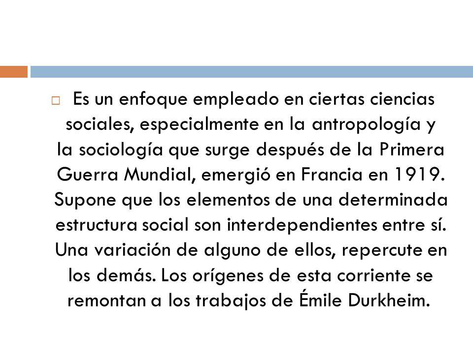 Es un enfoque empleado en ciertas ciencias sociales, especialmente en la antropología y la sociología que surge después de la Primera Guerra Mundial, emergió en Francia en 1919.