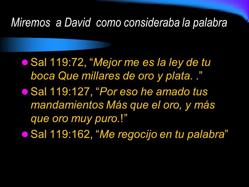 Miremos a David como consideraba la palabra