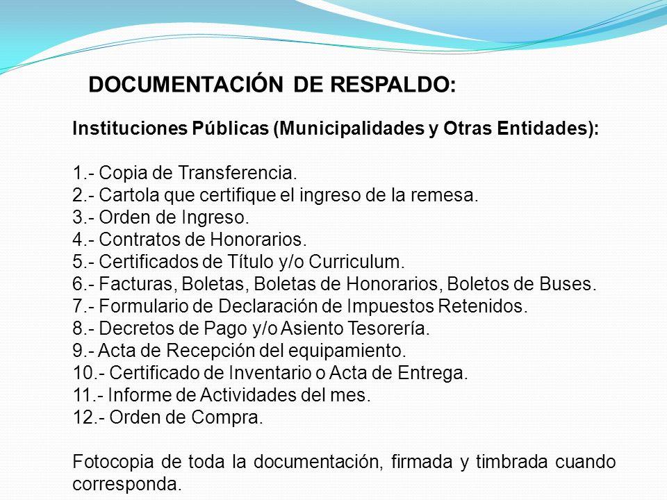 DOCUMENTACIÓN DE RESPALDO: