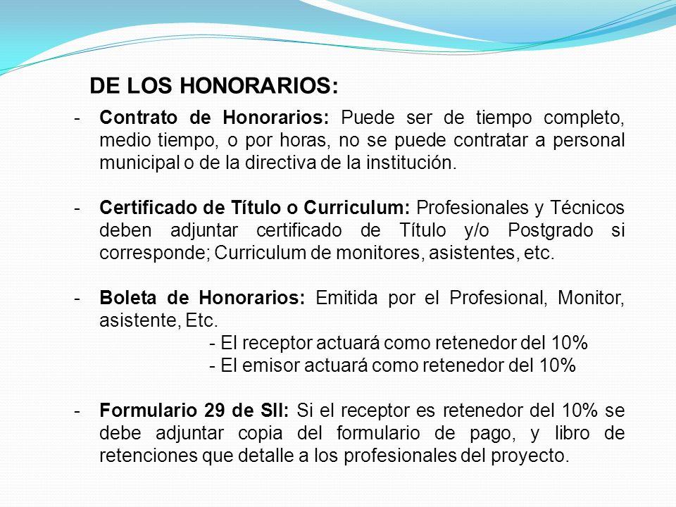 DE LOS HONORARIOS: