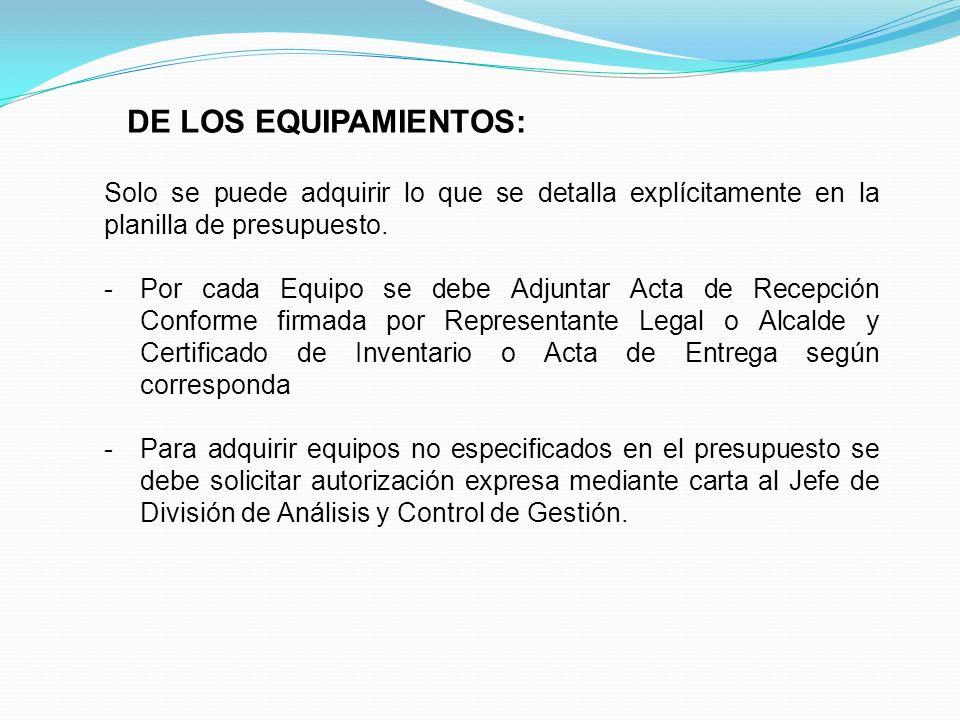 DE LOS EQUIPAMIENTOS: Solo se puede adquirir lo que se detalla explícitamente en la planilla de presupuesto.