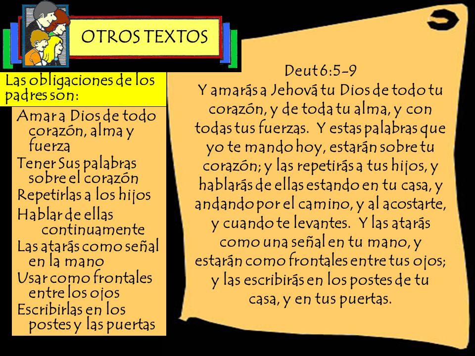 OTROS TEXTOS Deut 6:5-9.