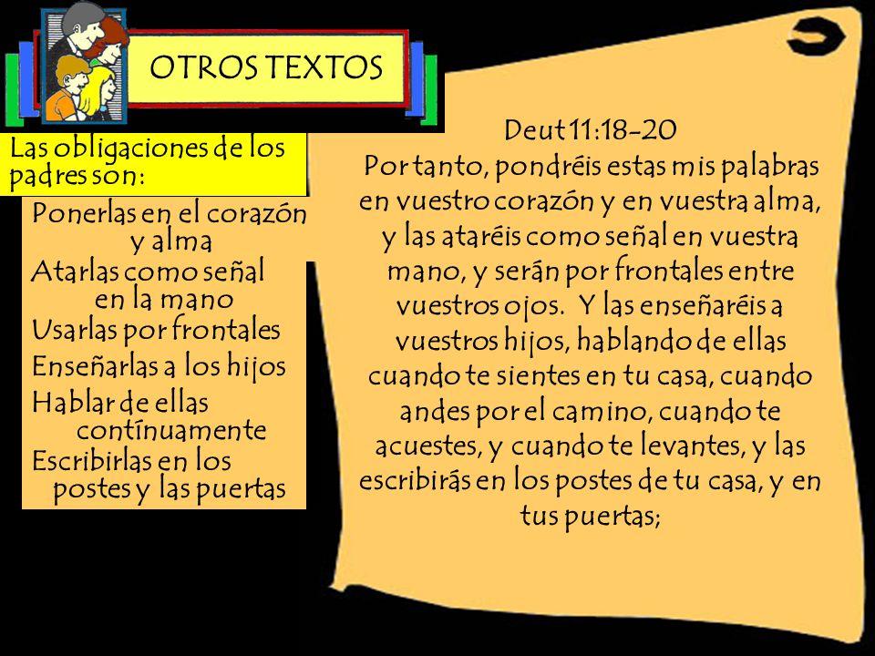 OTROS TEXTOS Deut 11:18-20.