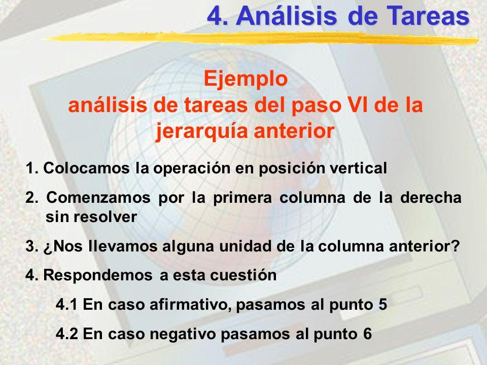 análisis de tareas del paso VI de la