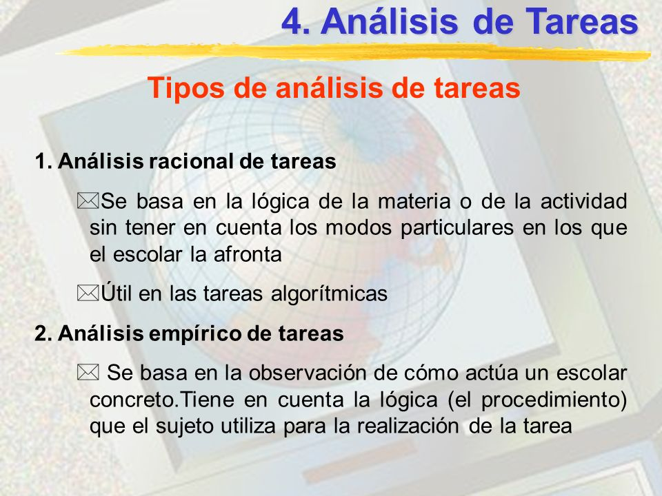Tipos de análisis de tareas