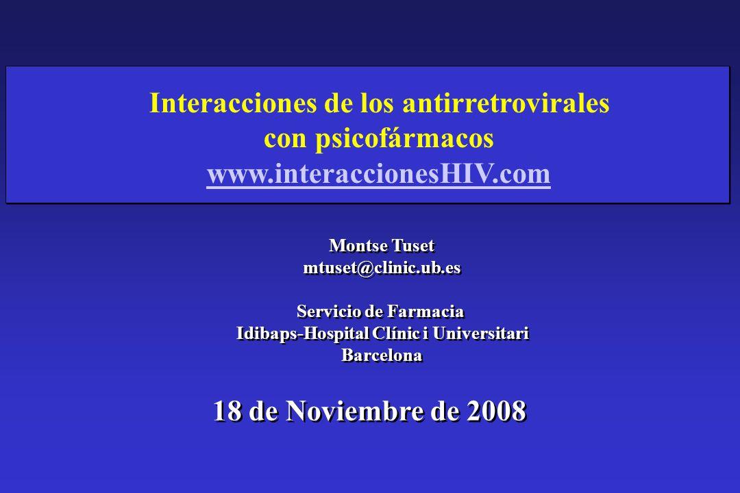 Interacciones de los antirretrovirales con psicofármacos