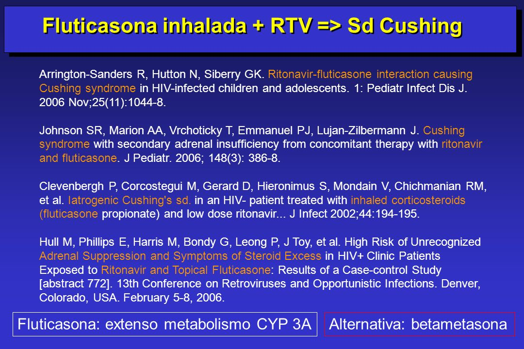 Fluticasona inhalada + RTV => Sd Cushing