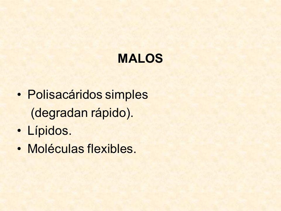 MALOS Polisacáridos simples (degradan rápido). Lípidos. Moléculas flexibles.