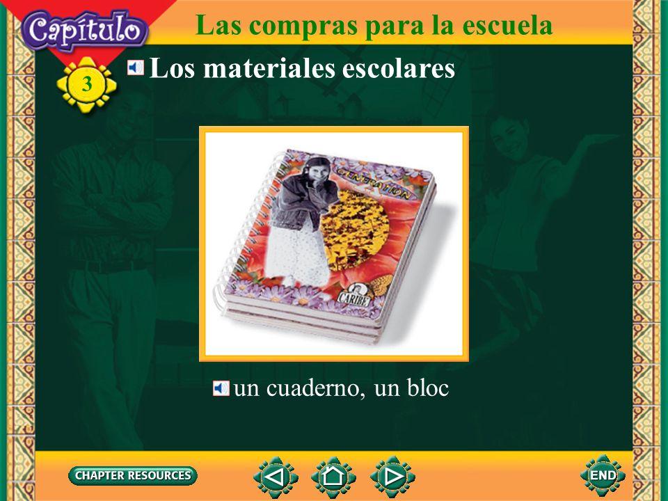 Las compras para la escuela Los materiales escolares