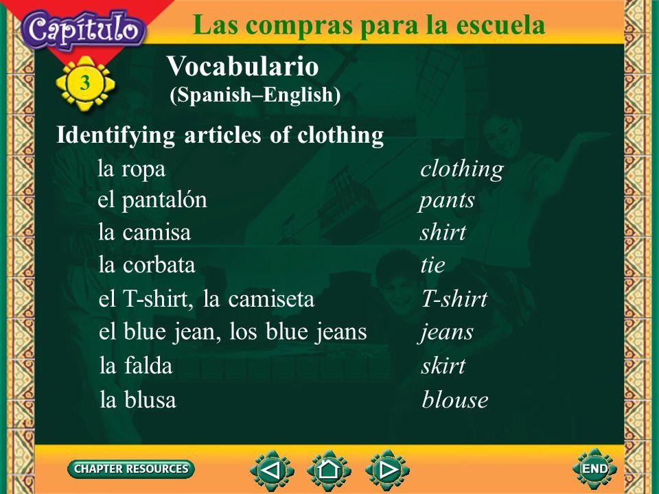 Las compras para la escuela Vocabulario