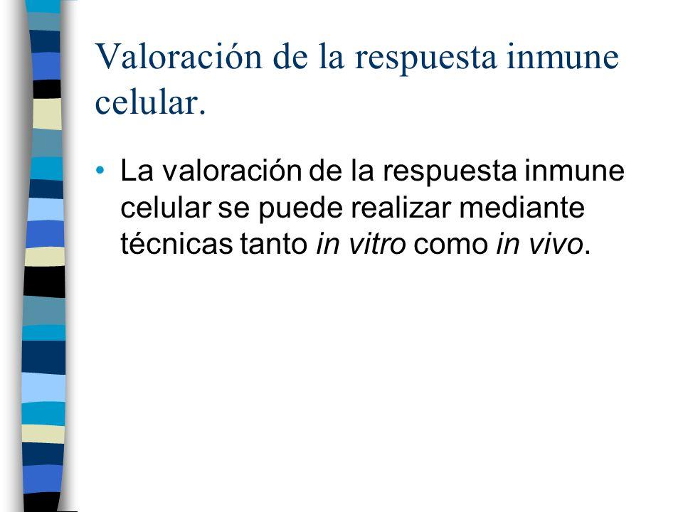 Valoración de la respuesta inmune celular.