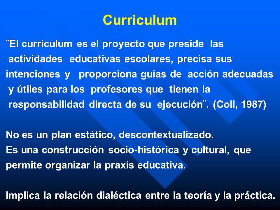 Curriculum ¨El curriculum es el proyecto que preside las