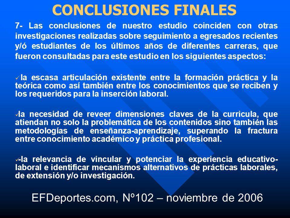CONCLUSIONES FINALES EFDeportes.com, Nº102 – noviembre de 2006
