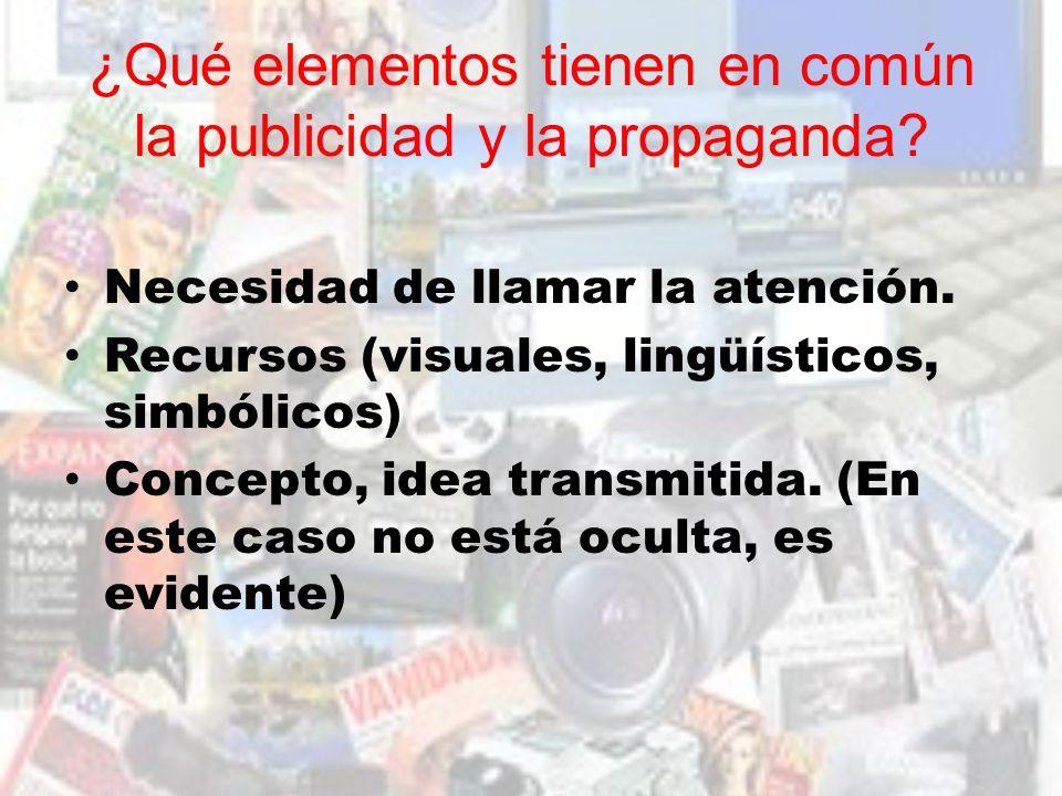 ¿Qué elementos tienen en común la publicidad y la propaganda
