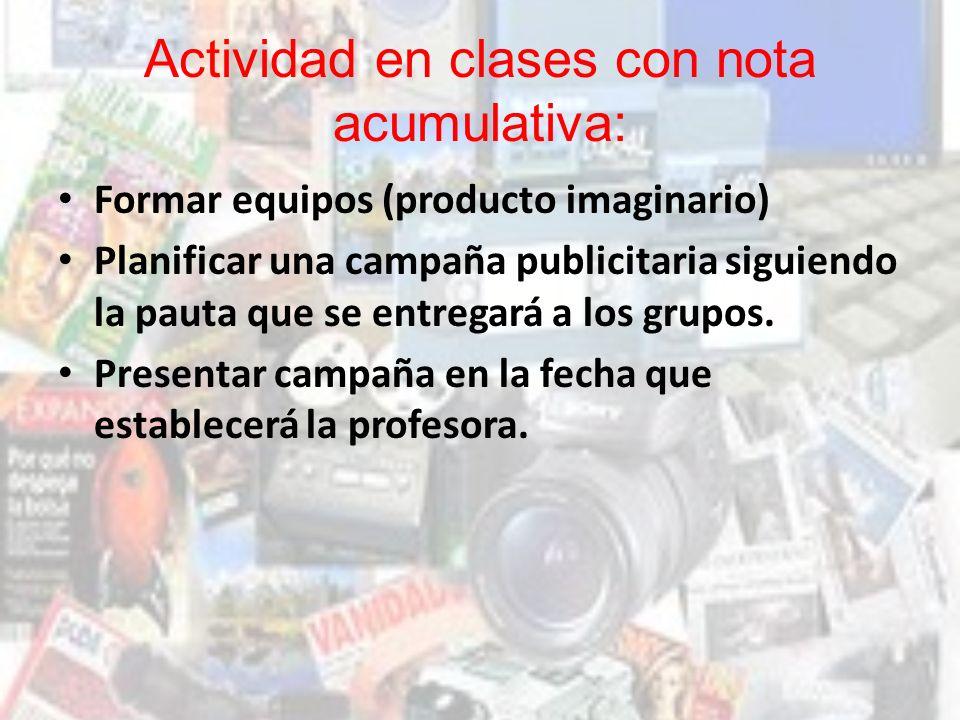 Actividad en clases con nota acumulativa: