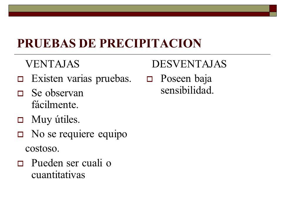 PRUEBAS DE PRECIPITACION