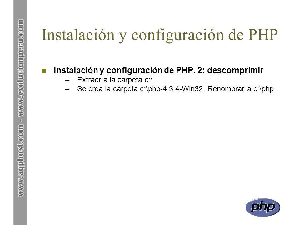 Instalación y configuración de PHP