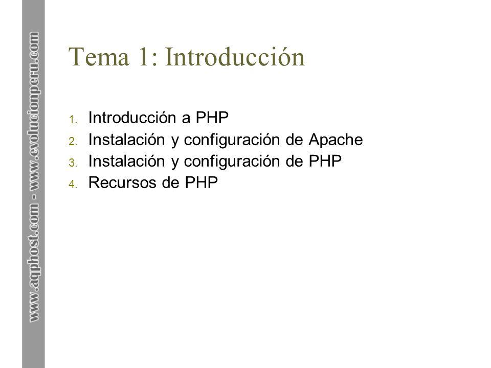 Tema 1: Introducción Introducción a PHP