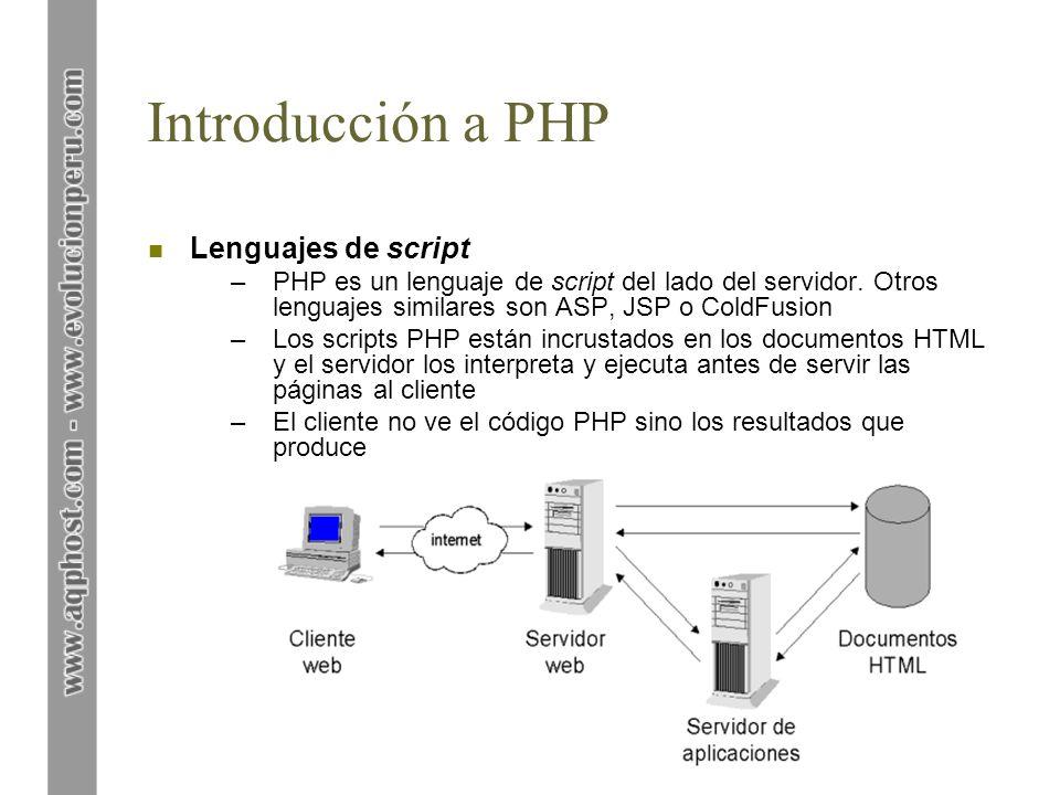 Introducción a PHP Lenguajes de script