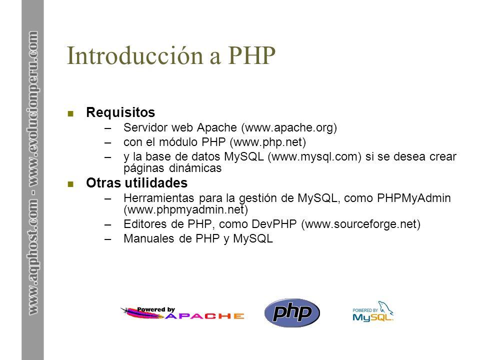 Introducción a PHP Requisitos Otras utilidades