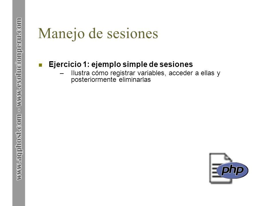 Manejo de sesiones Ejercicio 1: ejemplo simple de sesiones
