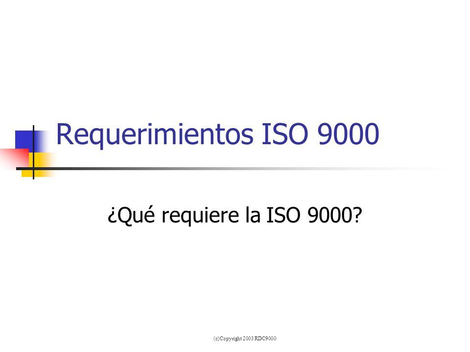 Requerimientos ISO 9000 ¿Qué requiere la ISO 9000