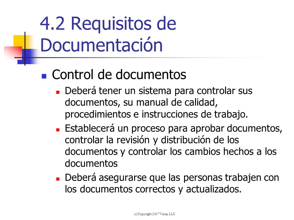 4.2 Requisitos de Documentación