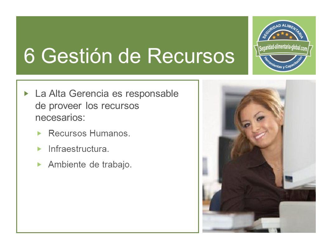 6 Gestión de Recursos La Alta Gerencia es responsable de proveer los recursos necesarios: Recursos Humanos.