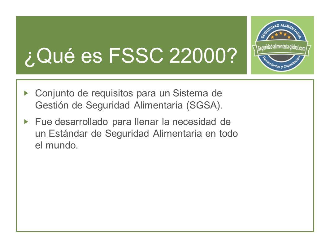 ¿Qué es FSSC 22000 Conjunto de requisitos para un Sistema de Gestión de Seguridad Alimentaria (SGSA).