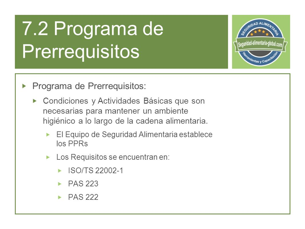 7.2 Programa de Prerrequisitos