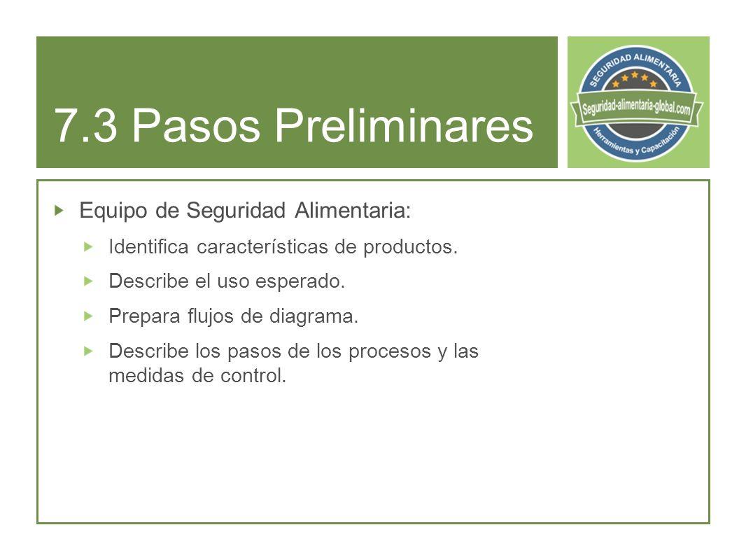 7.3 Pasos Preliminares Equipo de Seguridad Alimentaria:
