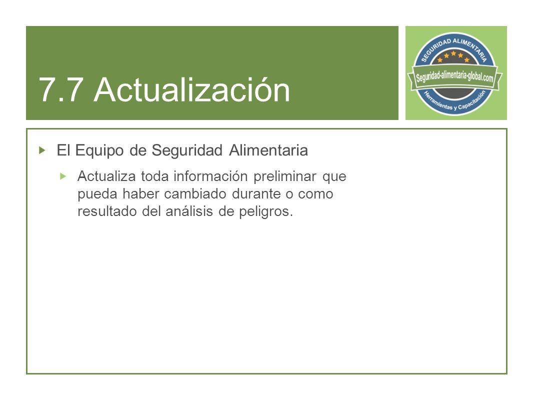 7.7 Actualización El Equipo de Seguridad Alimentaria