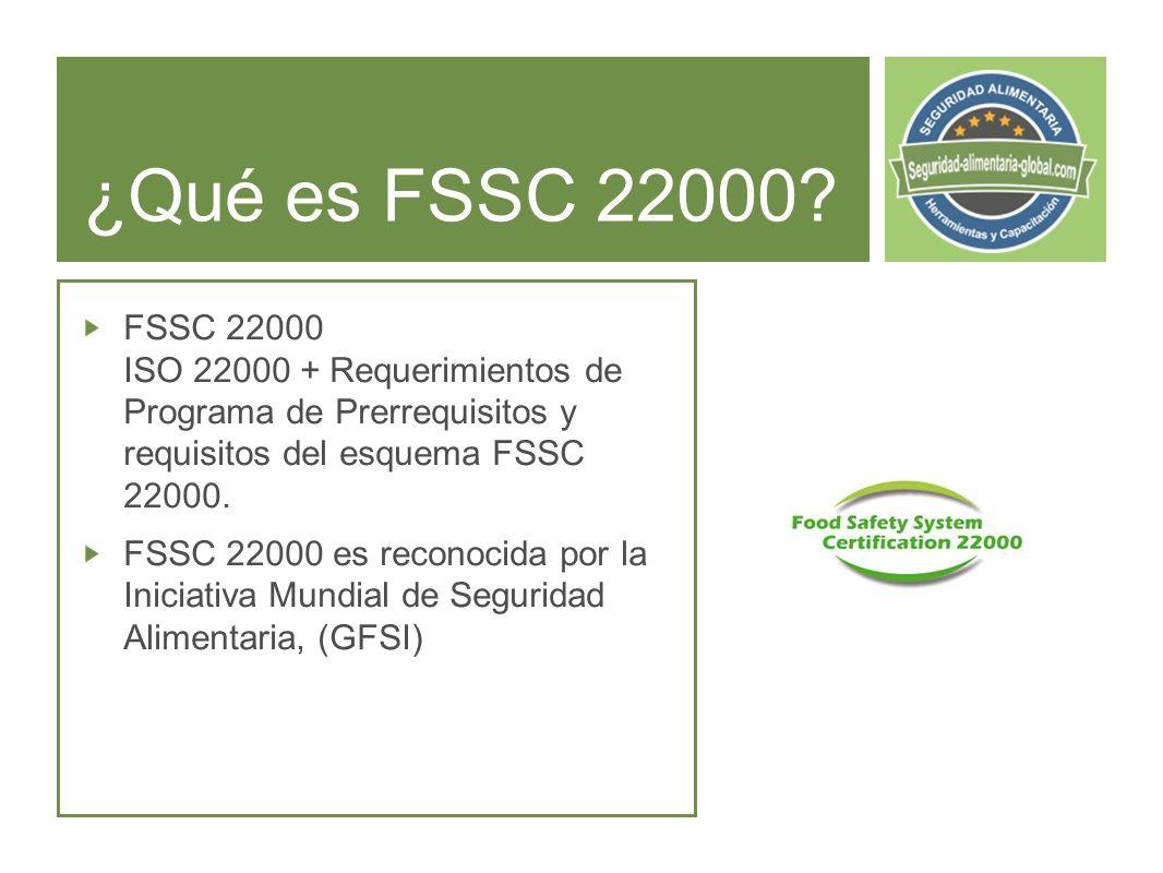¿Qué es FSSC 22000 FSSC 22000 ISO 22000 + Requerimientos de Programa de Prerrequisitos y requisitos del esquema FSSC 22000.