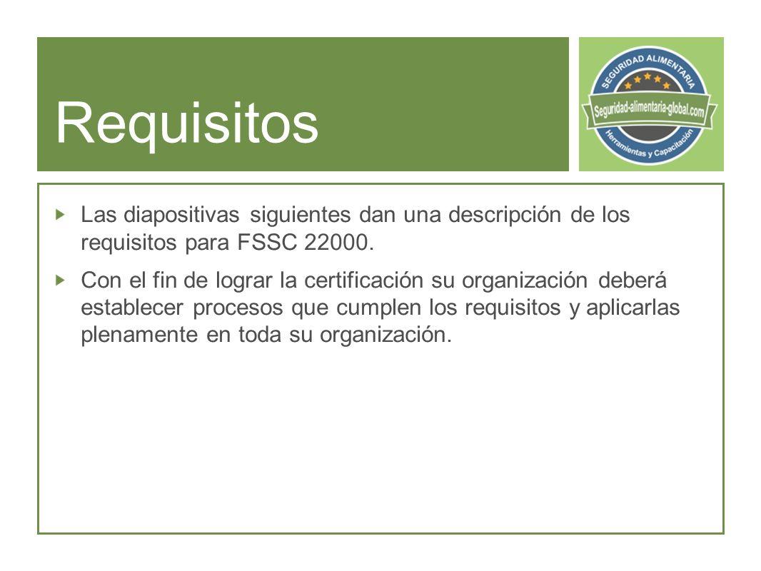 Requisitos Las diapositivas siguientes dan una descripción de los requisitos para FSSC 22000.